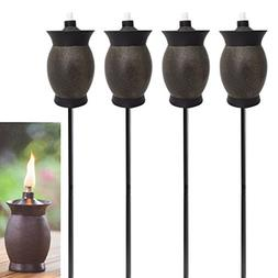 Tiki 4-pack 3-in-1 Torches 8 Inch Outdoor Table Lamp 50 Inch