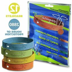 12 Pack Natural Mosquito Repellent Bracelet Wrist Band Bug I