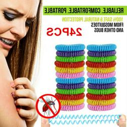 24 Pack Mosquito Repellent Bracelet Wrist Band Bug Insect Na