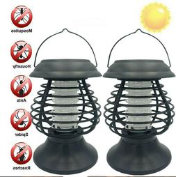 2pcs Solar LED Lamp Bug Zappers Mosquito Killer Insect Repel