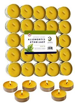 50 Citronella Tealight Candles - Deet Free Natural Insect Mo
