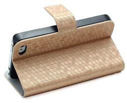 HJX iphone 5 Gold Honeycomb Diamond Glitter Series Wallet ID