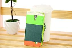 HJX S4 I9500 Colorful Magnetic clip Wallet Pu Leather Credit