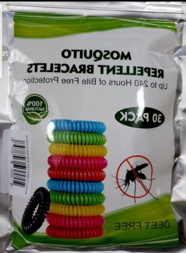 30 pack mosquito repellent bracelet natural camping