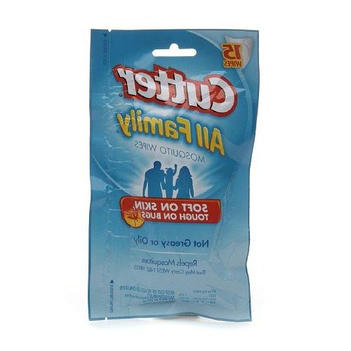 family repels mosquito wipes 15