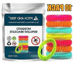 Pitch and Trek - Mosquito Repellent Bracelet 10 Pack - Fits