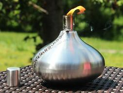 Table Torch for Backyard or Patio, Stainless Steel with Fibe